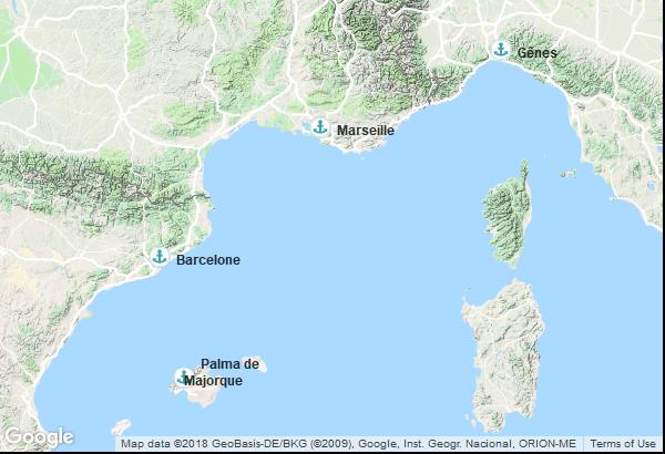 Itinéraire de la croisière : Espagne, Italie, France