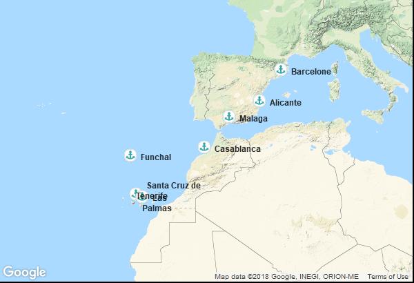 Itinéraire de la croisière : Espagne, Maroc, Îles Canaries, Île de Madère
