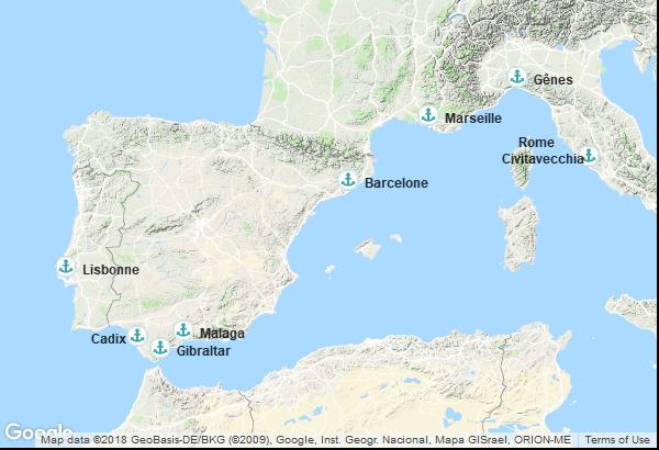 Itinéraire de la croisière : Italie, France, Espagne, Territoire Britannique d'outre-mer, Portugal
