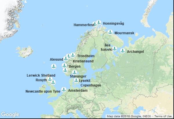 Itinéraire de la croisière : Danemark, Suède, Norvège, Russie, Ecosse, Angleterre, Pays Bas