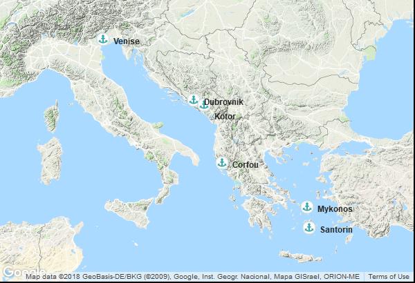 Itinéraire de la croisière : Italie, Montenegro, Grèce, Croatie