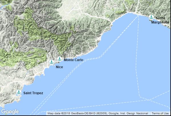 Itinéraire de la croisière : France, Italie, Monaco
