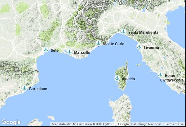 Itinéraire de la croisière : Espagne, France, Italie, Monaco