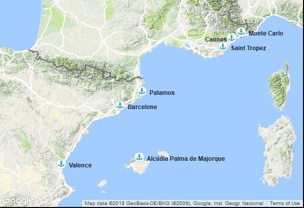 Itinéraire de la croisière : Monaco, France, Espagne, Îles Baléares