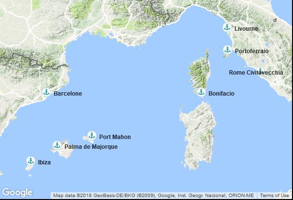 Itinéraire de la croisière : Espagne, Îles Baléares, France, Italie