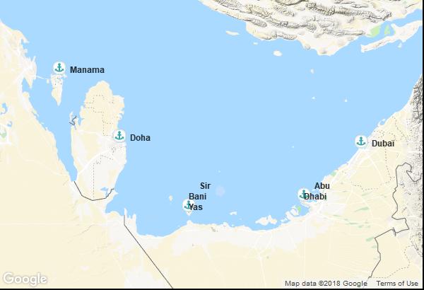 Itinéraire de la croisière : Emirats Arabes Unis, Bahreïn, Qatar