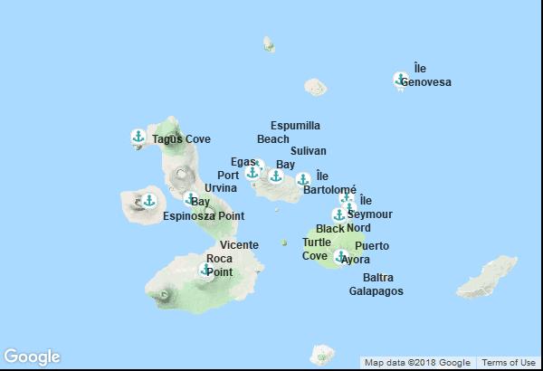 Itinéraire de la croisière : Équateur, Galapagos