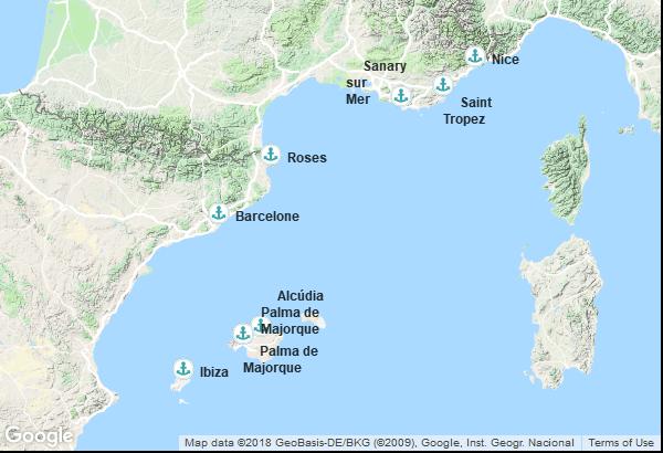 Itinéraire de la croisière : France, Espagne, Îles Baléares