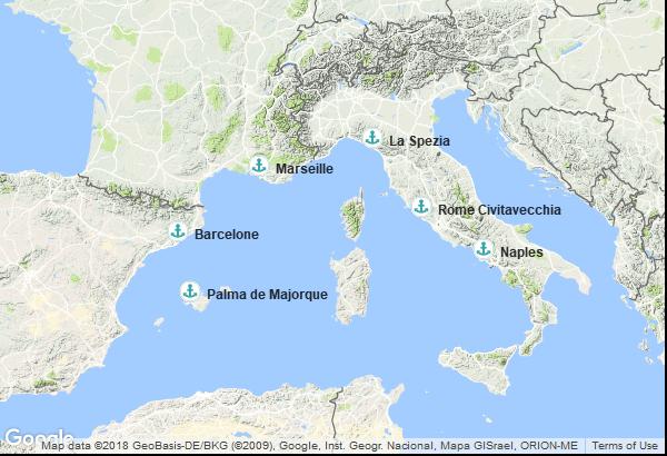 Itinéraire de la croisière : Espagne, France, Italie