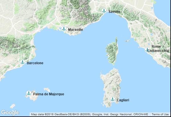 Itinéraire de la croisière : France, Espagne, Italie