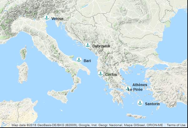 Itinéraire de la croisière : Italie, Grèce, Croatie