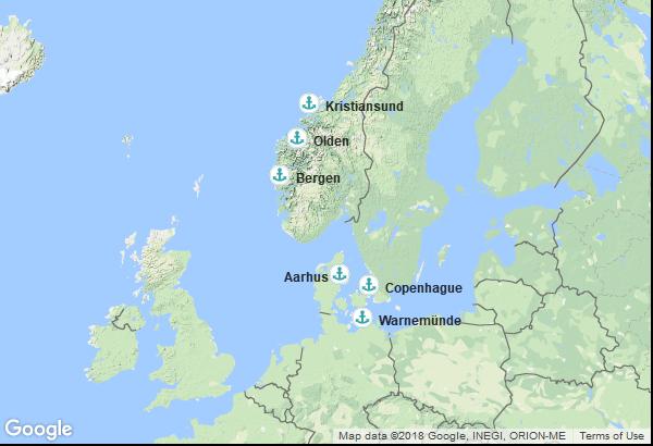 Itinéraire de la croisière : Danemark, Norvège, Allemagne