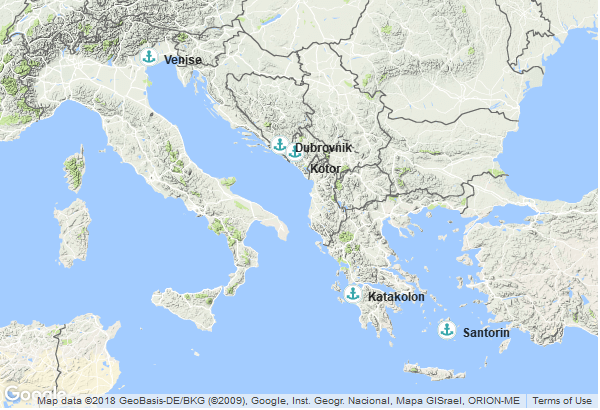 Itinéraire de la croisière : Italie, Croatie, Montenegro, Grèce