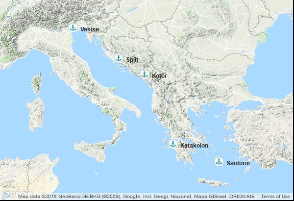 Itinéraire de la croisière : Italie, Grèce, Montenegro, Croatie
