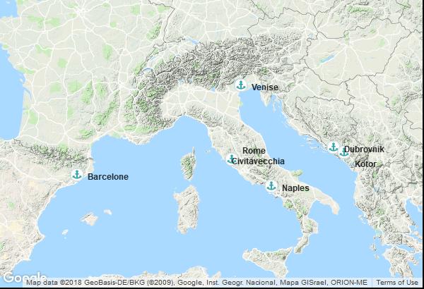 Itinéraire de la croisière : Italie, Croatie, Montenegro, Espagne