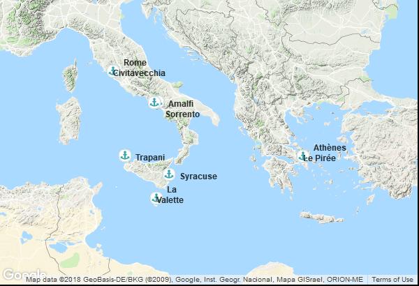 Itinéraire de la croisière : Grèce, Italie, Malte