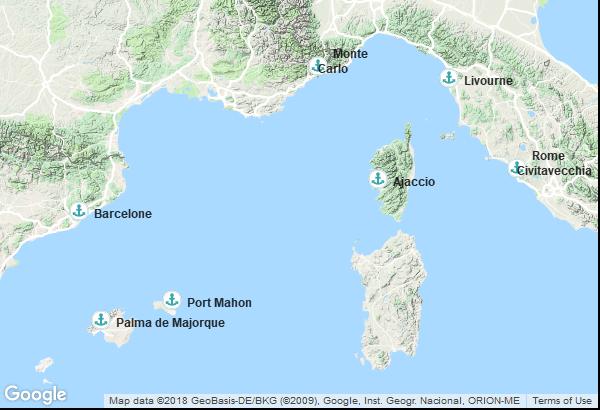 Itinéraire de la croisière : Italie, Monaco, France, Îles Baléares, Espagne