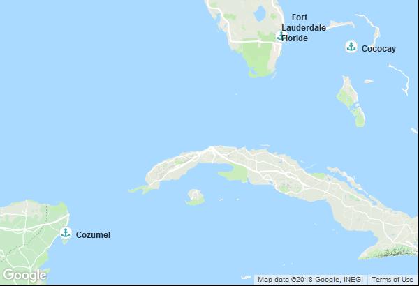 Itinéraire de la croisière : États-Unis, Mexique, Bahamas