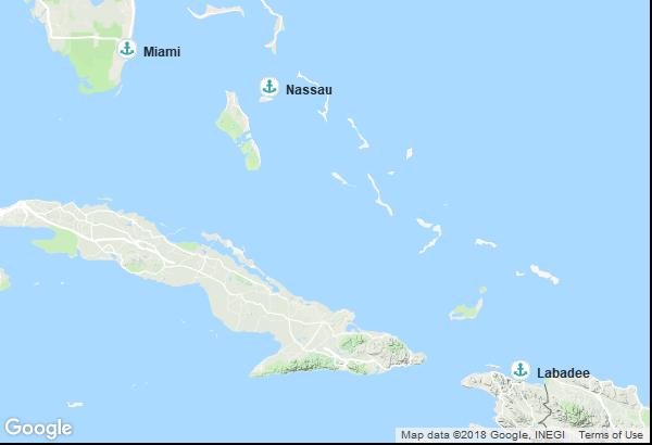 Itinéraire de la croisière : États-Unis, Bahamas, Haiti