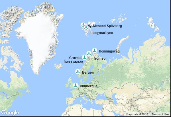 Itinéraire de la croisière : France, Norvège