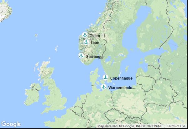 Itinéraire de la croisière : Danemark, Allemagne, Norvège