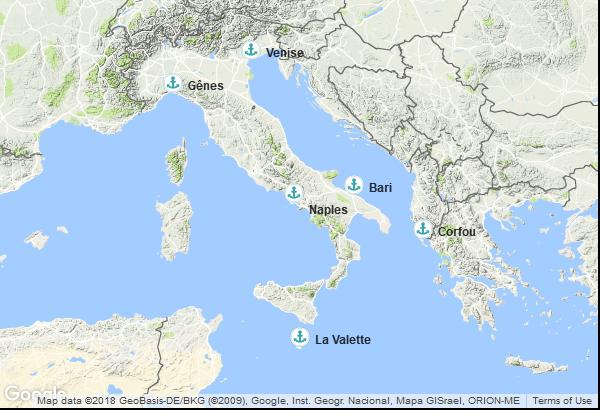 Itinéraire de la croisière : Italie, Grèce, Malte