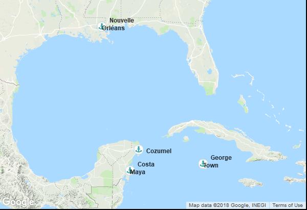 Itinéraire de la croisière : États-Unis, Mexique, Îles Caïmans