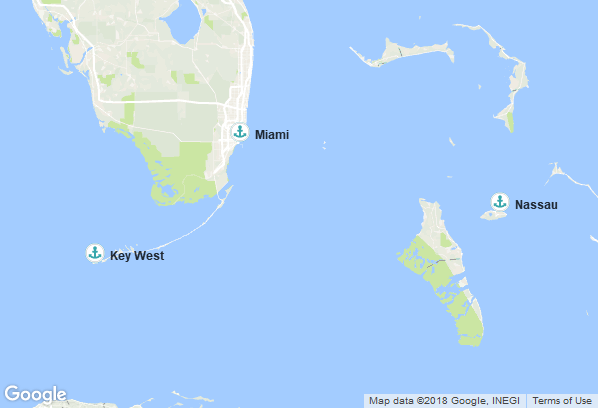 Itinéraire de la croisière : États-Unis, Bahamas