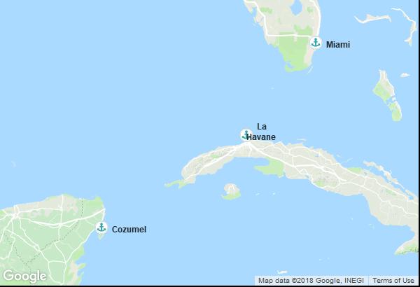 Itinéraire de la croisière : États-Unis, Mexique, Cuba