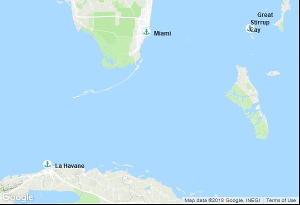 Itinéraire de la croisière : États-Unis, Cuba, Bahamas