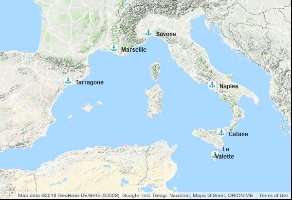 Itinéraire de la croisière : France, Italie, Malte, Espagne