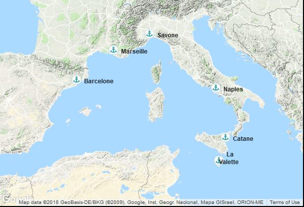 Itinéraire de la croisière : Italie, Malte, Espagne, France