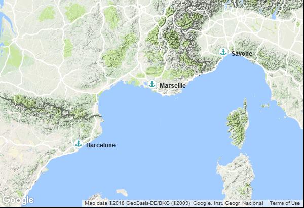 Itinéraire de la croisière : France, Italie, Espagne