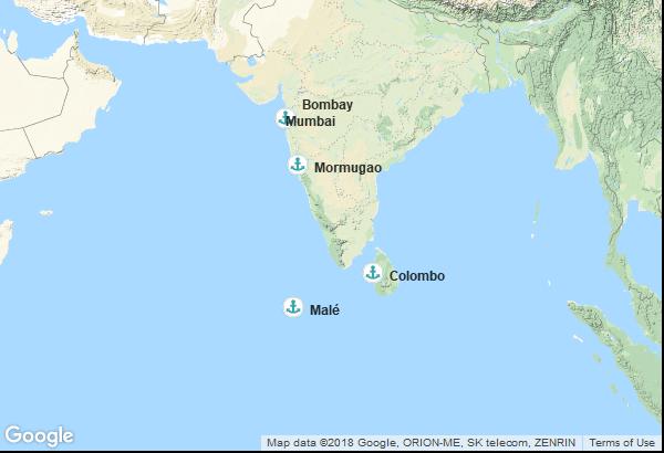 Itinéraire de la croisière : Maldives, Sri Lanka, Inde
