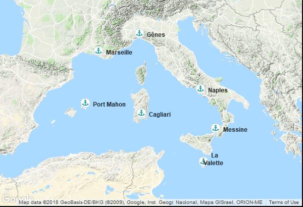 Itinéraire de la croisière : Italie, France, Îles Baléares, Malte