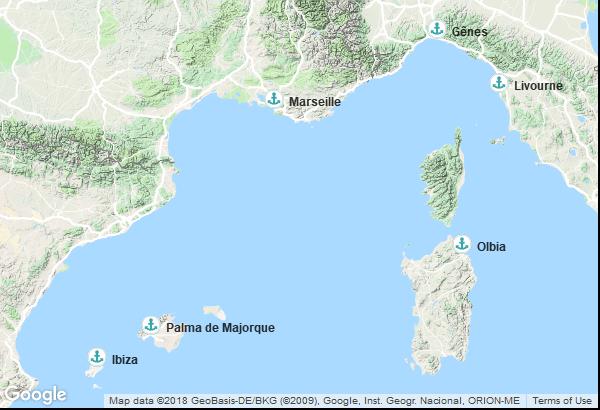 Itinéraire de la croisière : France, Espagne, Îles Baléares, Italie