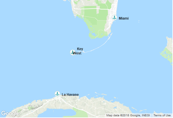 Itinéraire de la croisière : États-Unis, Cuba