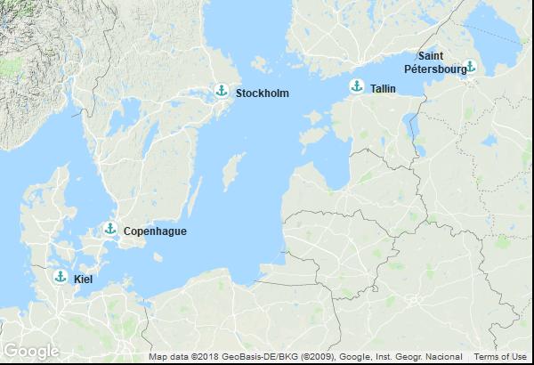 Itinéraire de la croisière : Danemark, Suède, Estonie, Russie, Allemagne