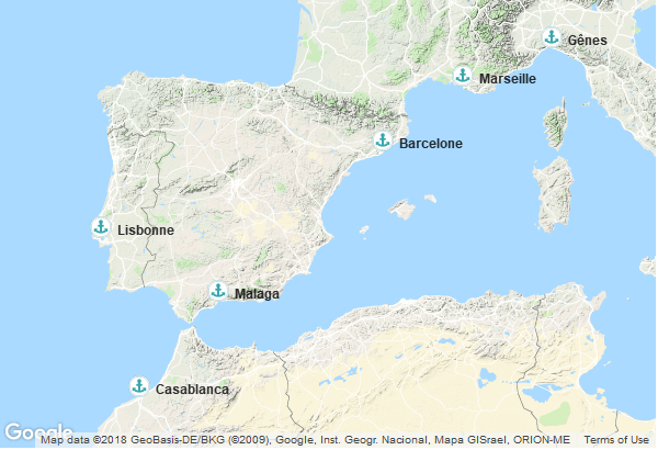 Itinéraire de la croisière : Italie, Espagne, Maroc, Portugal, France