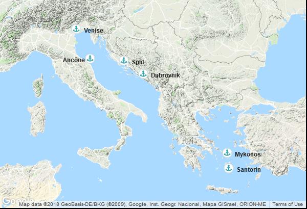 Itinéraire de la croisière : Italie, Croatie, Grèce