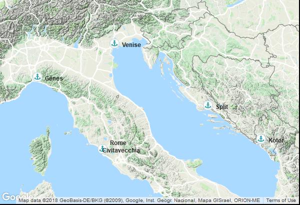 Itinéraire de la croisière : Italie, Croatie, Palaos