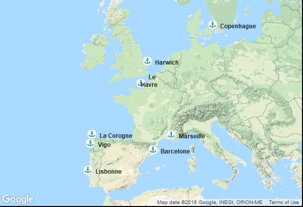 Itinéraire de la croisière : Danemark, Angleterre, France, Espagne, Portugal