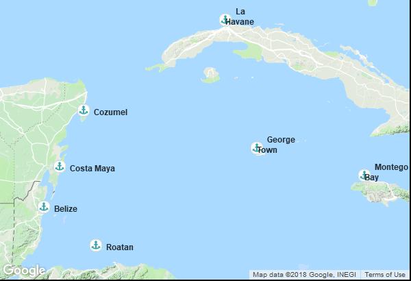 Itinéraire de la croisière : Cuba, Belize, Honduras, Mexique, Jamaïque, Îles Caïmans