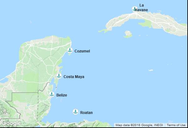 Itinéraire de la croisière : Cuba, Belize, Honduras, Mexique