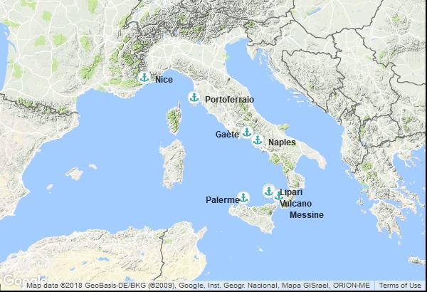 Itinéraire de la croisière : France, Italie