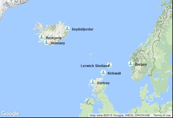 Itinéraire de la croisière : Islande, Ecosse, Norvège