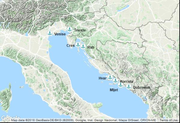 Itinéraire de la croisière : Italie, Croatie