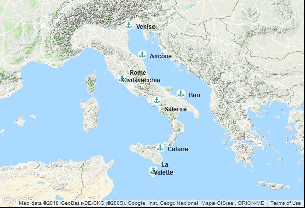 Itinéraire de la croisière : Italie, Malte