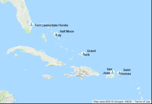 Itinéraire de la croisière : États-Unis, Îles Turques-et-Caïques, Porto Rico, Îles Vierges, Bahamas