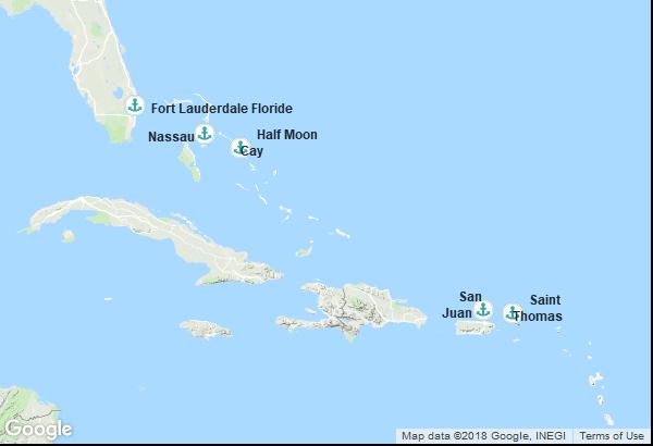 Itinéraire de la croisière : États-Unis, Bahamas, Porto Rico, Îles Vierges